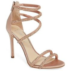 jamalee glitter sandal by Jessica Simpson. Slender glitter-encrusted straps wrap beguilingly up the front of a tall, breezy sandal set on a towering penthouse stiletto. Style Name: Jessica Simpson Jamalee Glitter Sandal (Women). Style Number: 5549581. Available in stores. #jessicasimpson #nudeshoes