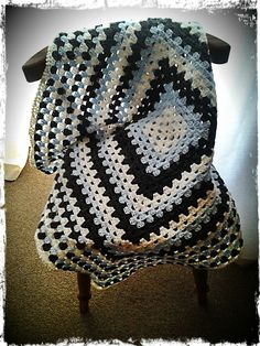 Granny Square Baby Blanket : White, Baby Blue, Dark Grey. 90cm x 90cm. R160.