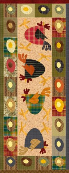Scrambled Eggs is such a fun applique pattern for a 20 x 50 tablerunner and you can use up some of those scraps you've been collecting. Pattern includes applique templates for chicken and eggs. Instant download your pattern today.  Basic applique experience necessary.