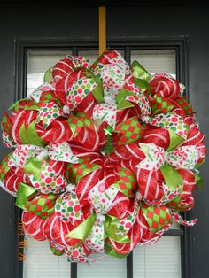 Christmas Holiday Deco Mesh Wreath