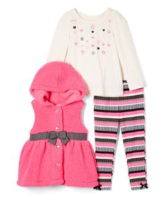 Love this Pink Bow Hooded Vest Set - Infant, Toddler & Girls on #zulily! #zulilyfinds