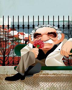 Gabriel Garcia Marquez Cover illustration for Notícias Magazine, April Gabriel Garcia Marquez, Portraits, Film Music Books, I Love Books, Conte, Illustrators, Literature, Fiction, My Love