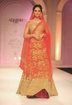 India Bridal Fashion Week 2013 – Adarsh Gill traditional red and gold bridal lehenga