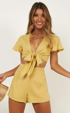 d60ba0d4666 Sunny Days Two Piece Set In Yellow Linen Look Produced