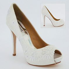 Fabulous Lace And Beaded Bridal Shoe In An Off White Shade With