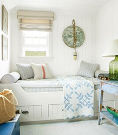 Cottage Style Bedroom Nook   Daybed- planked walls, reading/ sleeping nook could be a guest room or reading area or both!