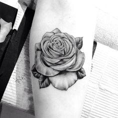 | Beautiful black & grey rose tattoo