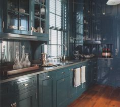 amazing lacquered kitchen cabinets - this is perhaps doable!