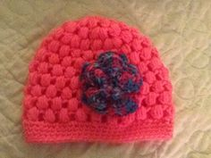 Crocheted toddler hat with multicoloured flower for my 2 year old niece Crochet Toddler Hat, Beanie, Flower, Hats, Hat, Beanies, Hipster Hat, Flowers, Beret