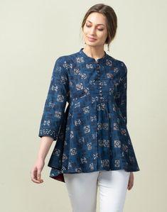 Buy Fabindia Cotton Dabu Print Asymmetric Top Online in India – Fabindia.com
