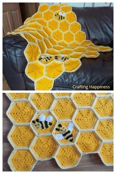 Crochet Bee, Cute Crochet, Crochet Crafts, Yarn Crafts, Crotchet, Crochet Blanket Patterns, Baby Blanket Crochet, Crochet Stitches, Knitting Patterns