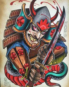 Cutting through. x mixed media on hot press watercolor paper. Japanese Tattoo Art, Japanese Tattoo Designs, Japanese Sleeve Tattoos, Guerrero Tattoo, Tatuajes New School, Japan Tattoo Design, Samurai Artwork, Samurai Tattoo, Yakuza Tattoo
