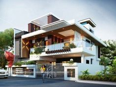 33 Lovely Modern Villa Exterior Design Ideas Luxury Look - SearcHomee Modern Bungalow Exterior, Modern Exterior House Designs, Modern House Facades, Modern Villa Design, Exterior Design, Exterior Rendering, 3d Rendering, Architecture Design, House Architecture Styles