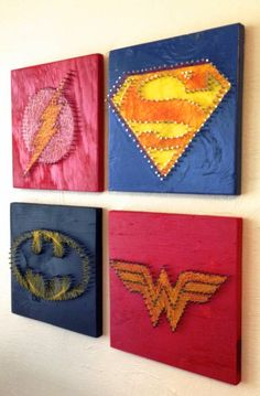 Justice League String Art - Wall Hangings (Set of Four) by halftonehandicrafts - Diy for Home Decor Fun Crafts, Diy And Crafts, Arts And Crafts, Pixel Art Super Heros, Nail String Art, Hanging Wall Art, Wall Hangings, Diy Décoration, Diy Art