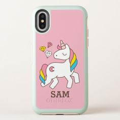 Monogram. Magical Cute Rainbow Unicorn. OtterBox Symmetry iPhone X Case