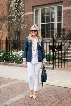 Polka Dot Blazer + White Jeans — bows & sequins