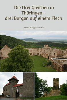 Die Drei Gleichen, das sind drei Burgruinen in Thüringen, die fast nebeneinander stehen. Zwischen Erfurt und Eisenach ist die Burgendichte groß. Zu den Drei Gleichen in Thüringen zählt die Mühlburg, die Wachsenburg und die Burg Gleichen. Alle drei Burgen sind legendär und einen Ausflug wert. Reisen In Europa, Europe Travel Guide, Mount Rushmore, Mountains, Mansions, House Styles, Nature, Gera, Erfurt