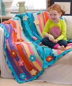 Stripes & Flowers Throw Crochet Pattern | Red Heart ♡ Teresa Restegui http://www.pinterest.com/teretegui/ ♡