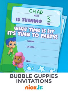 It's time to party! Let your guests know where the party's at with these printable Bubble Guppies birthday invitations.