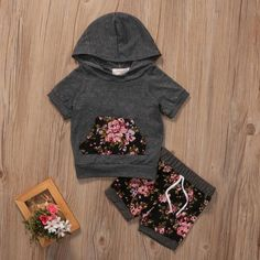 Summer Baby Girls Clothes Short Sleeve Hooded Shirt Coat Tops +Floral Pants Outfits 2Pcs