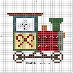 Cross Stitch Christmas Train Snowman