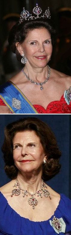 Queen Silvia with the ruby tiara Top Photo: Queen Silvia State visit Bottom Photo: Queen Silvia, US, May 2013