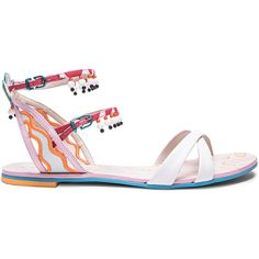 Sophia Webster Leather Nereida Nectarine Sandals (¥53,015) ❤ liked on Polyvore featuring shoes, sandals, beaded shoes, ankle strap sandals, sophia webster shoes, leather sandals and leather ankle strap shoes