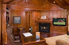 Wood-Paneled Rooms Office | This home office is almost entirely wrapped in wood so it feels very ...