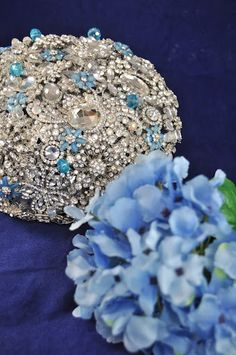 Bling Bling with blue accents:) #wedding #bouquet