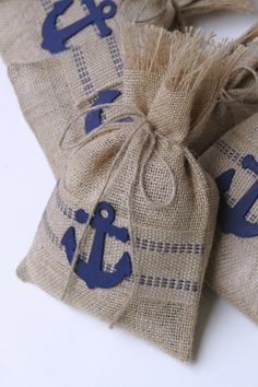 Burlap Gift Bag or Treat Bags Set of Four Nautical by FourRDesigns