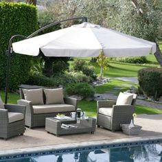 Coral Coast Offset Umbrella with Detachable Netting - Stay in the shade with the Coral Coast Gazebo Umbrella with Detachable Netting. This large offset umbrella is just right by the pool or spa, or. Best Patio Umbrella, Outdoor Umbrella, Pool Umbrellas, Parasols, Pool Shade, Patio Shade, Yard Furniture, Furniture Ideas, Courtyards