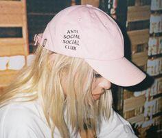 20b1c35a6f6a2 Anti Social Social Club Baseball Hat Cap Pink by LunaLovesVintage Funky Hats