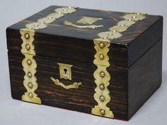 Antiques Atlas - 19thc Coromandel Wood & Brass Bound Tea Caddy
