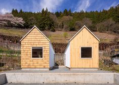 Twin micro homes by S Plus One are finished in different woods