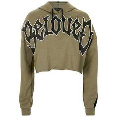 TopShop Beloved Hoodie (£28) ❤ liked on Polyvore featuring tops, hoodies, sweaters, green, jackets, jumper, sweat, brown hoodie, brown hooded sweatshirt and hooded sweatshirt