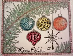 Molly Bee's Attic: Happy Holidays! Good shapes, use different tangles and add gold bows