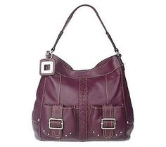 Tignanello Glove Leather Pocket Hobo w/ Braided Accent & Key Fob