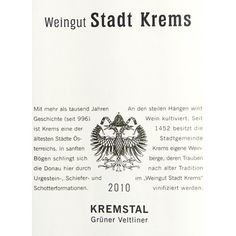 """Fresh and fruity; the aroma reminds on white currant, citrus fruits and the typically 'Veltliner-Pfefferl'. The aromas are repeat also on the palate."""