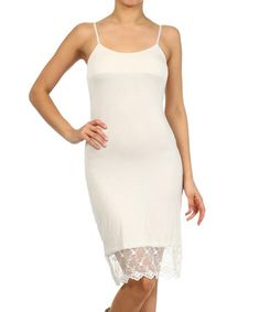 Another great find on #zulily! Cream Lace-Trim Slip by L & B #zulilyfinds