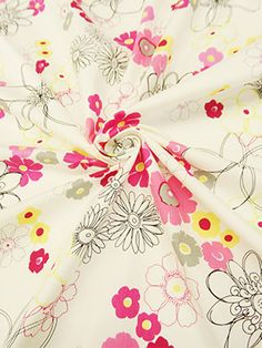 New Arrival! White/Pink/Multi Floral Print Cotton/Lycra Shirting 48W