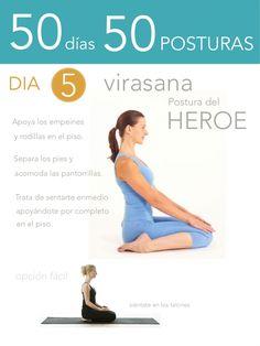 ૐ YOGA ૐ ૐ ASANAS ૐ ૐ Virasana ૐ 50 días 50 posturas. Día 5. Postura del Héroe