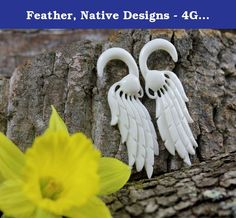 Feather, Native Designs - 4G, 5mm Gauge Stretcher Earrings - Bone Carving Body Piercings, Water Buffalo Bone. 4 Gauge, 5mm / 61mm x 20mm / 2.4 x 0.8 inches / Material - Water Buffalo Bone.