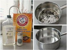 Use baking soda, cream of tartar and dish detergent to remove burnt food from your stainless steel pots and pans. Deep Cleaning Tips, House Cleaning Tips, Spring Cleaning, Cleaning Hacks, Cleaning Solutions, Cleaning Checklist, Cleaning Products, All You Need Is, Clean Burnt Pots
