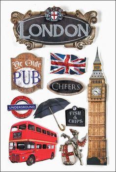 London Travel 3-D Stickers