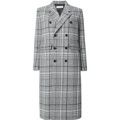 Balenciaga Classic double breasted coat ($2,400) ❤ liked on Polyvore featuring outerwear, coats, grey, grey coat, double breasted long coat, long sleeve coat, long gray coat and balenciaga