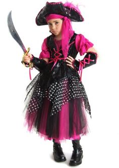 caribbean pirate costume - when she sails the seven seas, it's with a style all her own. hot pink and black come together in this fun pirate costume, which features cute lacing details, glovelets and a hot pink scarf. Diy Pirate Costume For Kids, Pirate Halloween Costumes, Halloween 2013, Halloween Season, Funny Halloween, Halloween Outfits, Halloween Ideas, Toddler Costumes, Girl Costumes