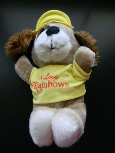 "Rainbow Animals I Love Rainbows Barker Stuff Animal w/hat Plush Toy 8"" Vtg. A"