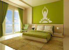 Love how calming this bedroom is! Wall Decal Yoga Meditation Exercise Zen Dorm Decor. $45.00, via Etsy.