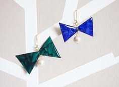 Bow earrings りぼん×コットンパール・アシメ*ピアス