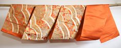 Orange Japanese Obi with Silver and Gold Flower Motif by CJSTonbo, easy
